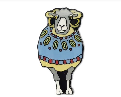 Sheep in Sweaters enamel pin blue