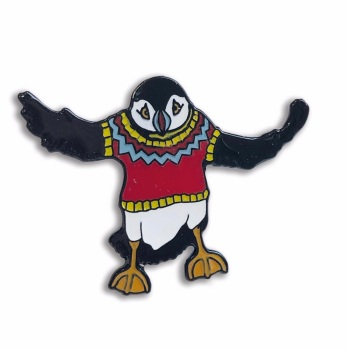 Flying Woolly Puffin enamel pin