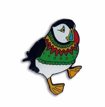 Woolly Puffins enamel pin green