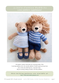 Lion Supplement pattern - to use with BEAR boy or girl pattern