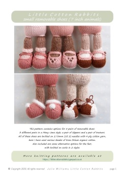 "*New* Removable shoes pattern for LITTLE 7"" animals"