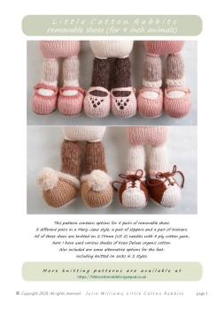 "*New* Removable shoes pattern for ORIGINAL 9"" animals"
