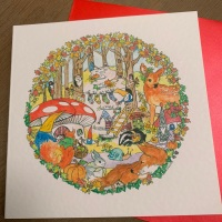Locket's Enchanted Woodland Greetings Cards - Socks on the Line