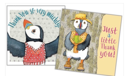 *NEW* Thank You      Woolly Puffins Mini Card Pack