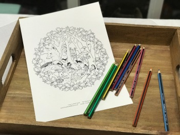 A4 Colour-in sheet Enchanted Woodland - Badger in a hat