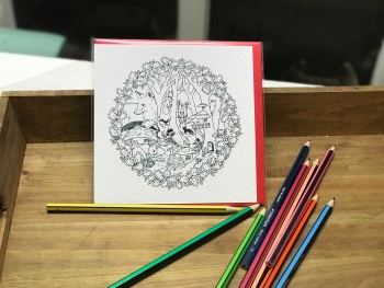 Colour-in Locket's Enchanted Woodland Greetings Card - Badger in a hat