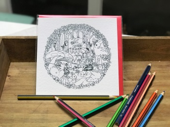 Colour-in Locket's Enchanted Woodland Greetings Card - Socks on the line