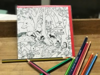 Enlarged Colour-in Locket's Enchanted Woodland Greetings Cards - Badger in a hat