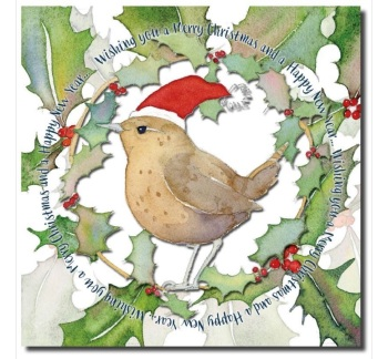 Wren in a Santa Hat pack of 6 Christmas Cards