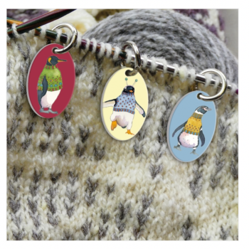 """""""Penguins in Pullovers""""  Stitch marker"""