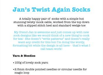 Jan's Twist Again Sock Pattern