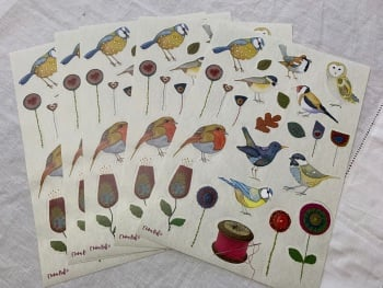 Stitched Birdies Sticker Sheets x 5