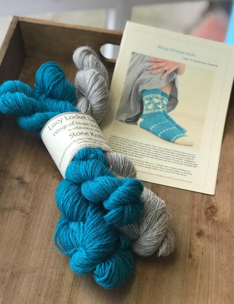 Turquoise Wings of Hope Sock Kit in gorgeous Exmoor Sock Yarn