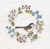 *new* Embroidery Long Tailed Tit card
