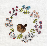 *new* Embroidery Wren card