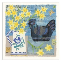 Blue China Hen Greetings Card