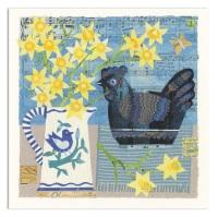 Blue China Hen Greetings Card