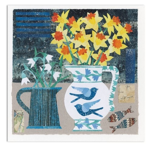 Flowers and Swallows Greetings Card