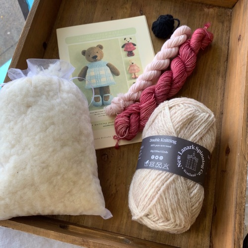 New pale brown Bear Girl Kit - pink dress