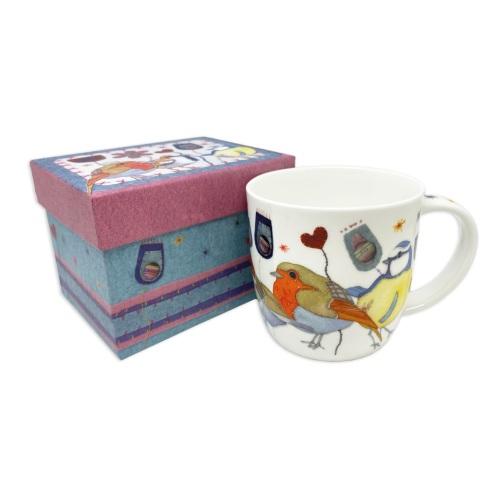 Stitched Birdies Bone China Mug (boxed)