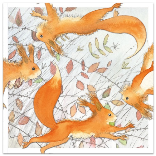 Dancing Squirrels card by Eric Hyman