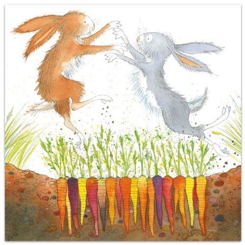 Boxing Hares card by Eric Hyman