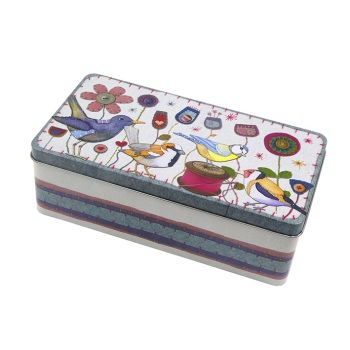 New Large Rectangular Tin - Stitched Birdies