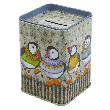 Money tin - Woolly Puffins