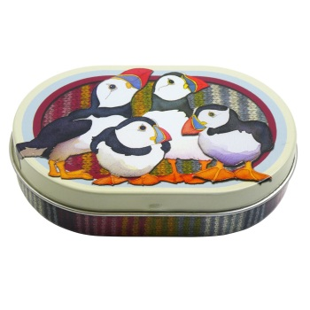Oval Mini Hinged Tin - Stripey Puffins