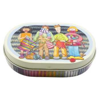 Oval Mini Hinged Tin - Yarn Club