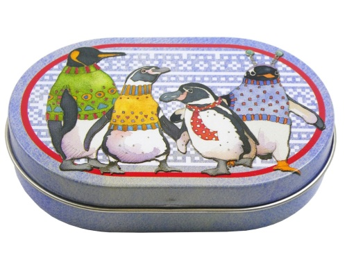 Oval Mini Hinged Tin - Penguins in Pullovers