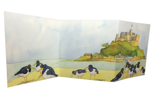 Double Fold Oyster Catchers Card