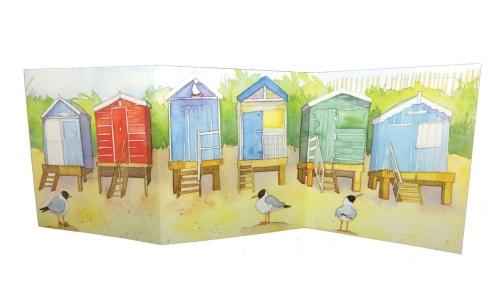 Double Fold Beach Huts Card