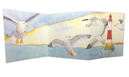 Double Fold Seagulls Card