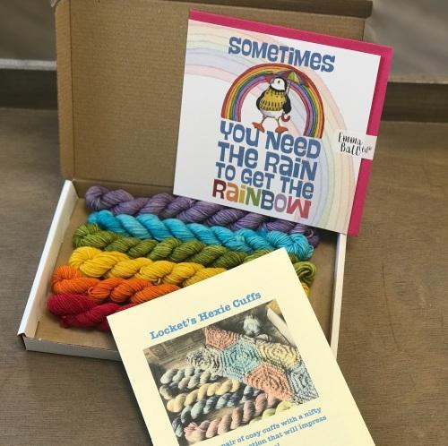 Rainbow Hexie Cuffs & Card set