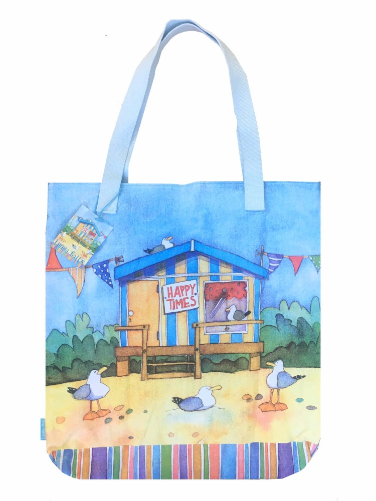 Beach Huts Large Canvas Bag - slight second so special price!