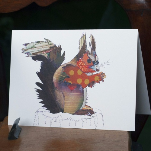 Red Squirrel blank card by Catherine Kleeli