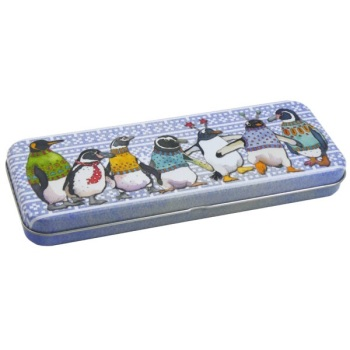 New long pencil tin - Penguins in Pullovers