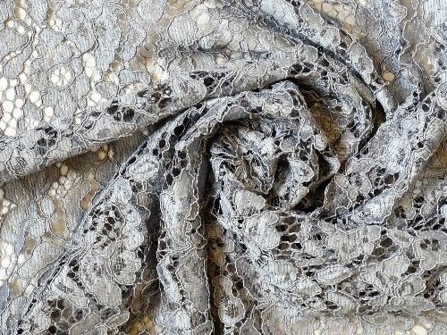 Grey Corded Lace, polyester BE0010
