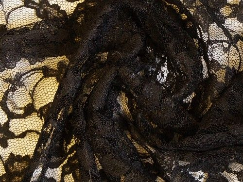 Black Corded Lace, polyester BE0015