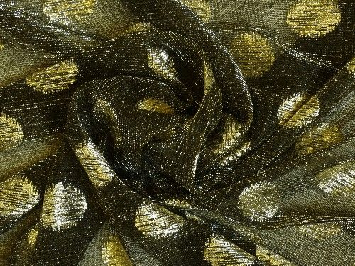 Black with gold spot,  fine knit polyester BE0067