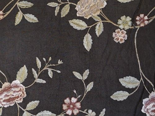 Embroidered Silk  Dupion Charcoal grey BE0069