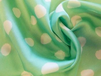 Mint and off white spot polyester  PL0086