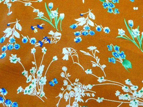 Burnt Umber floral Viscose, VC0021