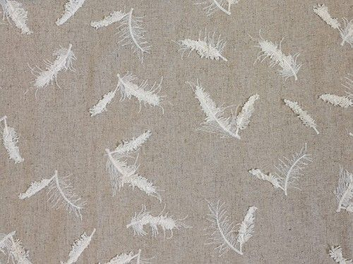 Beige feather embroidery Viscose  Linen LN0031