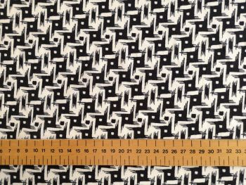 Black White Geometric Linen Viscose LN0020
