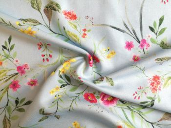 Pale Blue floral, Viscose Twill, VC0006