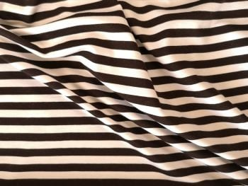 Black white  Narrow striped Viscose Spandex Jersey, BJ0036