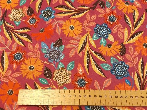 Bright pink  tropical floral Rayon, VC0017