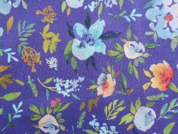 Mauve floral, Viscose Twill, VC0029